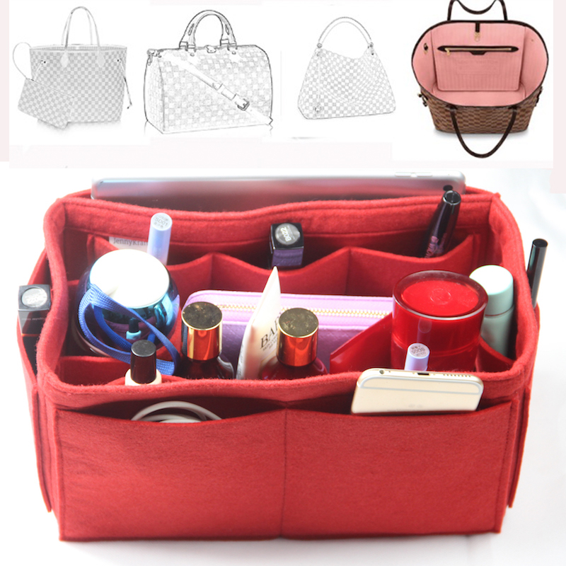 Fits[Keepall 45 50 55 60] Felt Tote Organizer Purse Insert Bag In Bag Cosmetic Makeup Diaper Handbag(w/Milk Water Bottle Holder)