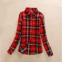 Hot Sale Autumn Winter Ladies Female Casual Cotton Lapel Long Sleeve Plaid Shirt Women Slim Outerwear