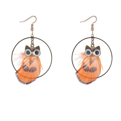 Europe and the United States popular retro owl Feather Earrings temperament pendants, circle rings earrings, earrings, small st