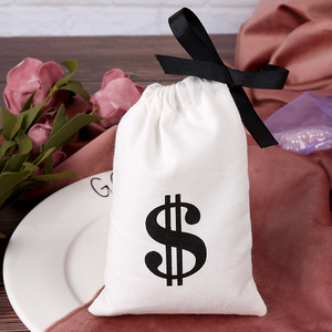 Image 2 - 綿100ジュエリー包装リボンホワイトキャンバス巾着バッグ結婚式の好意バッグパーソナライズされたカスタムロゴシックな小さなポーチ
