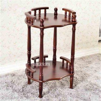 Nueva mesa de centro de madera maciza China moderna estante multiusos en forma de flor estante de doble capa marrón estante de esquina lateral té Rack