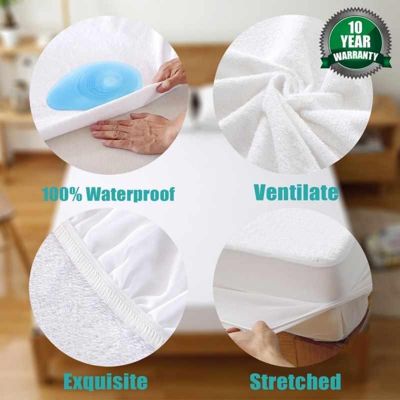 160x200 cm Terry Baumwolle Wasserdichte Matratze Protector 100% Wasserdichte Matratze Abdeckung Hypoallergen Maschine Waschbar