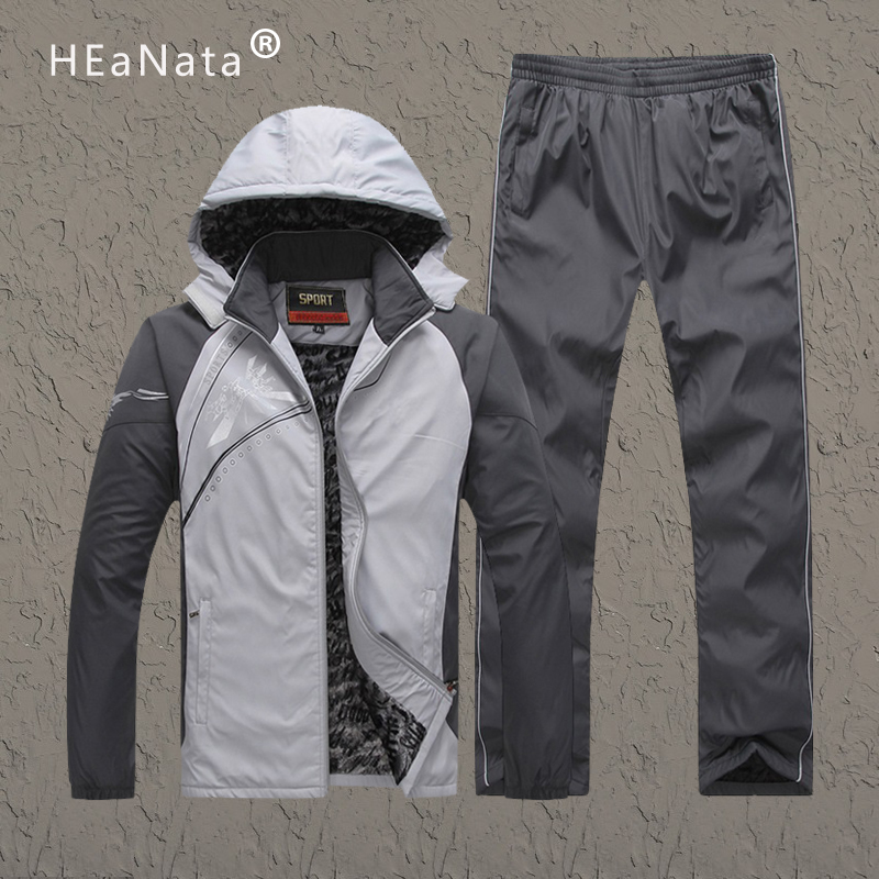 Winter Tracksuits Sets Velvet Men Sport Suits 2019 Sportswear Set Fitness Warm Tracksuit Zipper Casual Suit Mens Hooded Clothing