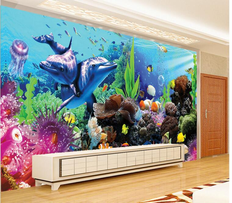 3d room wallpaper custom mural non woven wall sticker the for Fish tank paint
