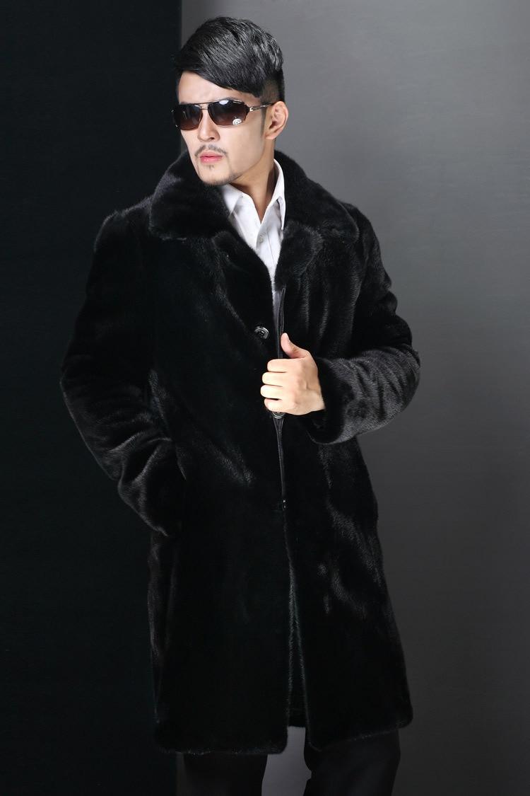 Free Shipping Mens Winter Long Mink Fur Jacket Black Casual Faux Fur High Quality Fur Coats Male Warm Large Size Overcoats J464