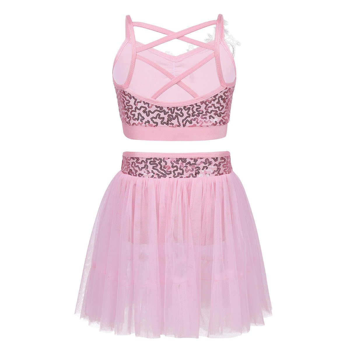 ChicTry/Детские топы с блестками; гимнастическая танцевальная пачка; балетная юбка; Комплект для девочек; платье для фигурного катания на коньках; лирические танцевальные костюмы