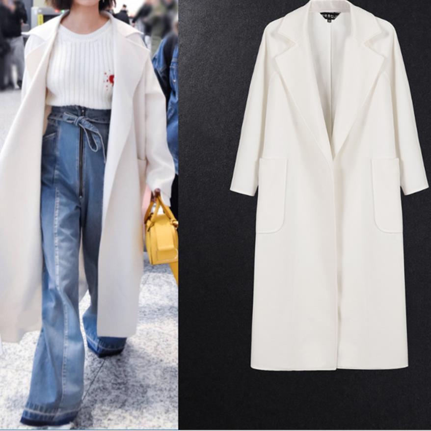 Autumn& Winter Fashion Loose Women's White Coats Winter Long Coat New Design Warm Oversize Cashmere Coat