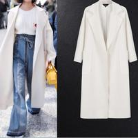 Autumn& Winter Fashion loose Women's White Coats Winter Long Coat New Design Warm Oversize Cashmere coat