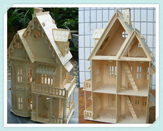 Educational 3D Wooden Jigsaw Puzzles Model DIY Rural Gothic House  Construction Toy/Miniature Doll House