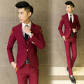 ( jacket + vest + pants ) 2017 new men's boutique embroidery wedding dress suits / Male slim high-grade leisure suits / Men suit