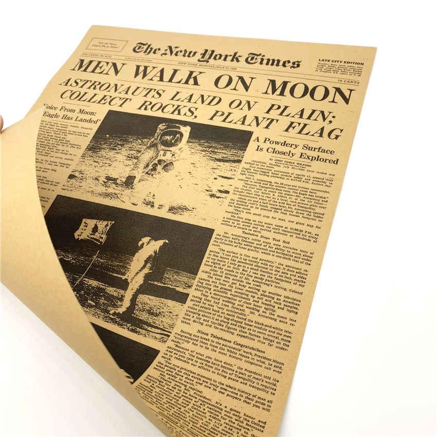 MAN WALK ON THE MOON NEW YORK TIME NEWSPAPER Vintage Poster Decorative Print Painting Classic Walls Paper 42x30cm GGA020