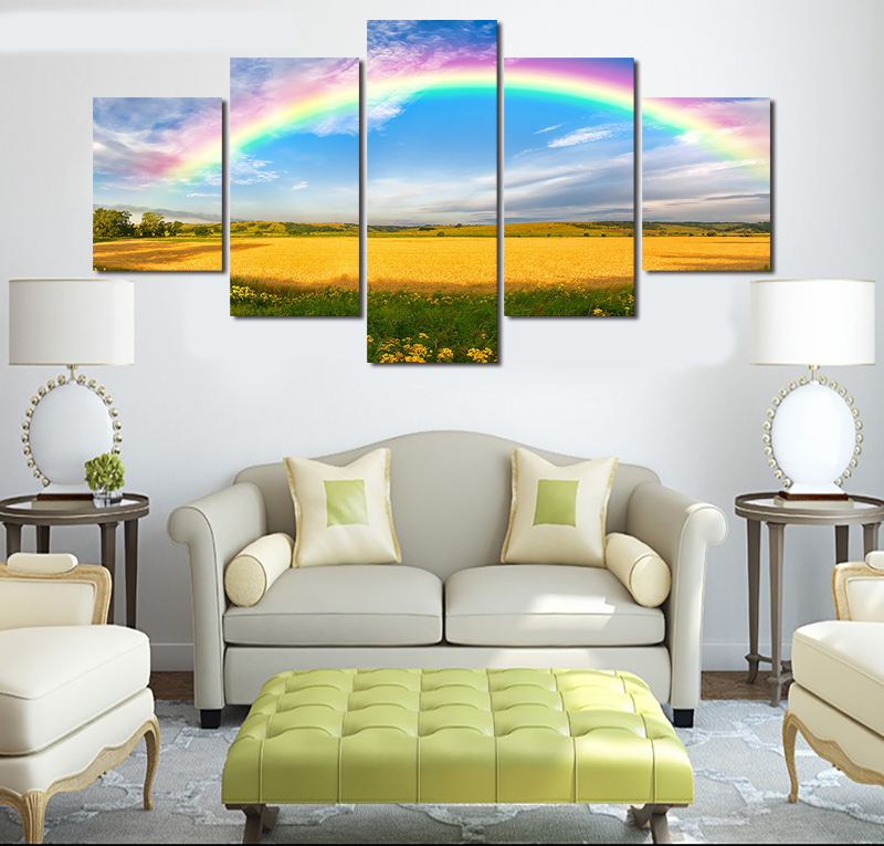 2017 Limited Real The Colours Rainbow 5pcs Hd Toprated Canvas Print Painting For Living Room Wall Art Picture Home Decoration