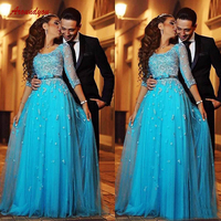 Long Sleeve Lace Evening Dresses Party Sexy A Line Plus Size Women Ladies Formal Dresses Evening Gown