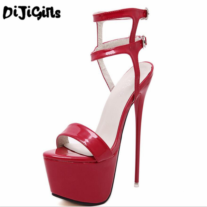 Fashion Summer Women High Heels Sandals 16cm Sexy Stripper Shoes Party Pumps Shoes Women Gladiator Platform Sandals