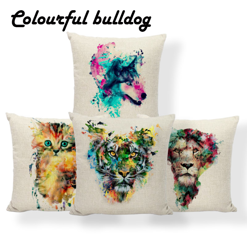 Cat Tiger Lion Cushion Cover Animal Colorful Wolf Pillows Simple Bedroom Baby Birth Gifts Pillowslip Covers 18 Inch Linen Modern