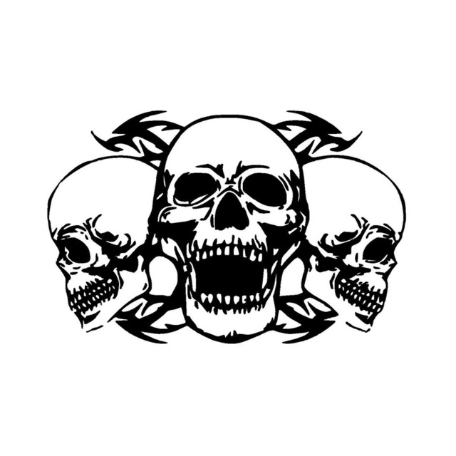 CM Personalized Custom Triple Skull Car Stickers - Custom vinyl decals motorcycles