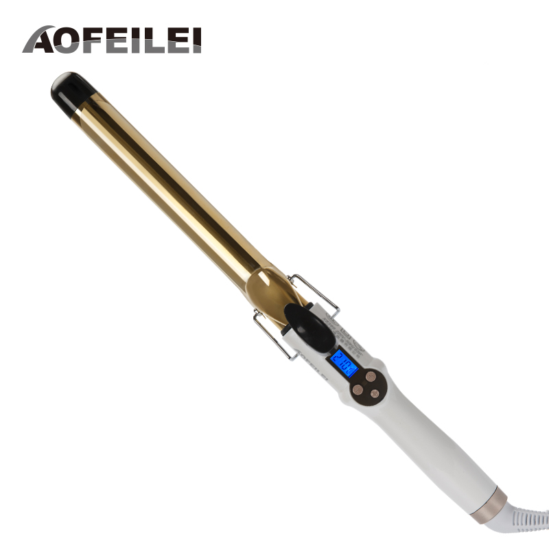 AOFEILEI Golden Electric Professional Ceramic Hair Curler Lcd Curling Iron Roller Curls Wand Waver Fashion Styling Tools
