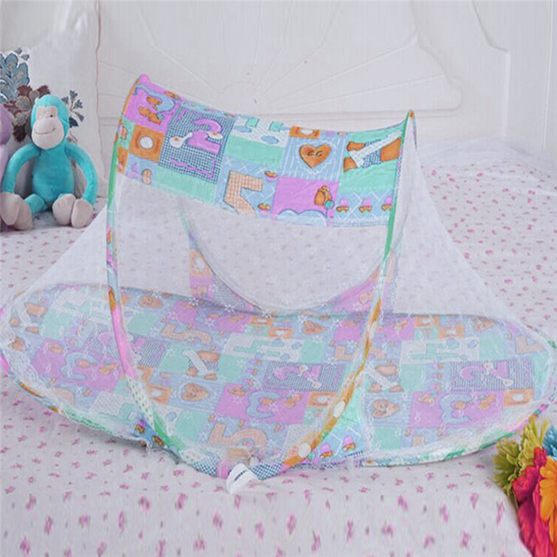3 Colors Portable Baby Bed Crib Folding Mosquito Net Cushion Mattress Summer Baby Infants Mosquito Polyester Mesh Crib Netting Mother & Kids Crib Netting