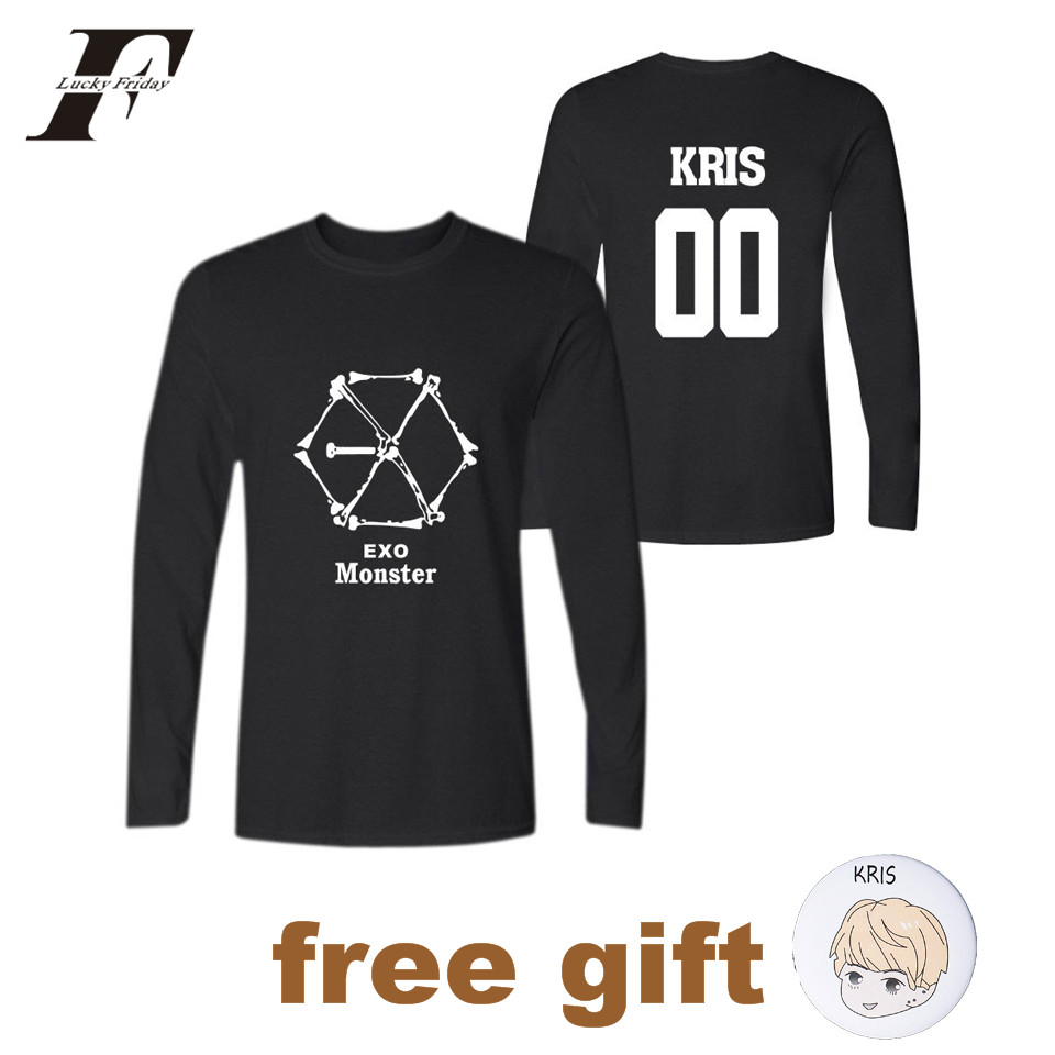 LUCKYFRIDAYF EXO Summer KPOP T Shirt With Long Sleeve Casual Cotton Women T Shirt Clothes XXXXL KRIS SUHO BAEKHYUN LUHAN D.O LAY
