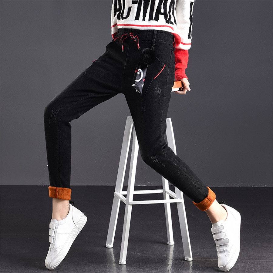 Winter Fashion Thick Jeans For Women Mid Waist Flocking Elastic Casual Denim Harem Pants Boyfriend Female Trousers Stretch Black