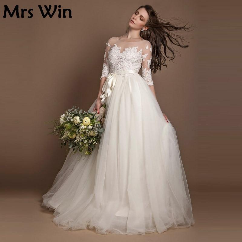 2017 New Three Quarter Sleeve Wedding Dresses Ivory beaded ...