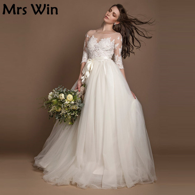 2017 New Three Quarter Sleeve Wedding Dresses Ivory beaded illusion ...