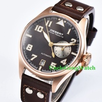 42mm DEBERT Black Dial Brown Rivets Power Reserve Sapphire Glass Leather Strap Luminous Mens Automatic