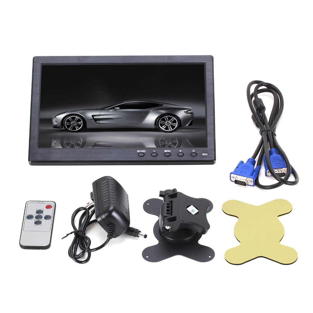 10.1″ 1024*600 Pixels HDMI VGA AV USB Output Car Monitor with Screen Slim Design UV Coating for Monitoring ETC PC