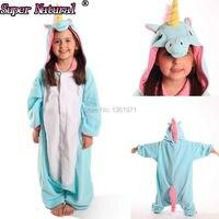 High Quality Hot Sale Kids Cute Animal New Pink Blue Unicorn Kigurumi Pajamas Children Onesies Cosplay