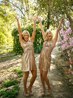 Rose Gold Sequins Bridesmaid Dresses Homecoming Short Party Prom Gowns
