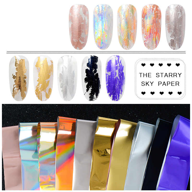 Pegatinas de uñas RBAN oro rosa holográficas uñas Foils cielo estrellado brillo pegatinas de uñas pegatinas de transferencia oro papel láser arte de uñas