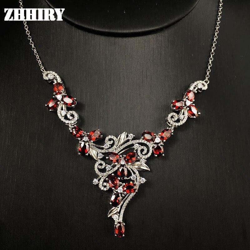 Natural garnet gem stone wedding necklace 925 sterling silver Platinum plated women wear fine jewelry noble