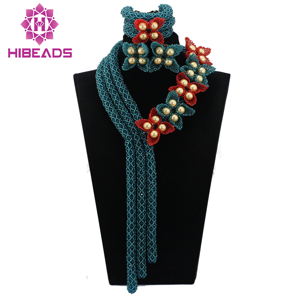 Teal Blue Seed Bead Flower Handmade Crystal Necklace Teal Floral Nigerian Wedding African Beads Jewelry Set Free Shipping ABL665Teal Blue Seed Bead Flower Handmade Crystal Necklace Teal Floral Nigerian Wedding African Beads Jewelry Set Free Shipping ABL665