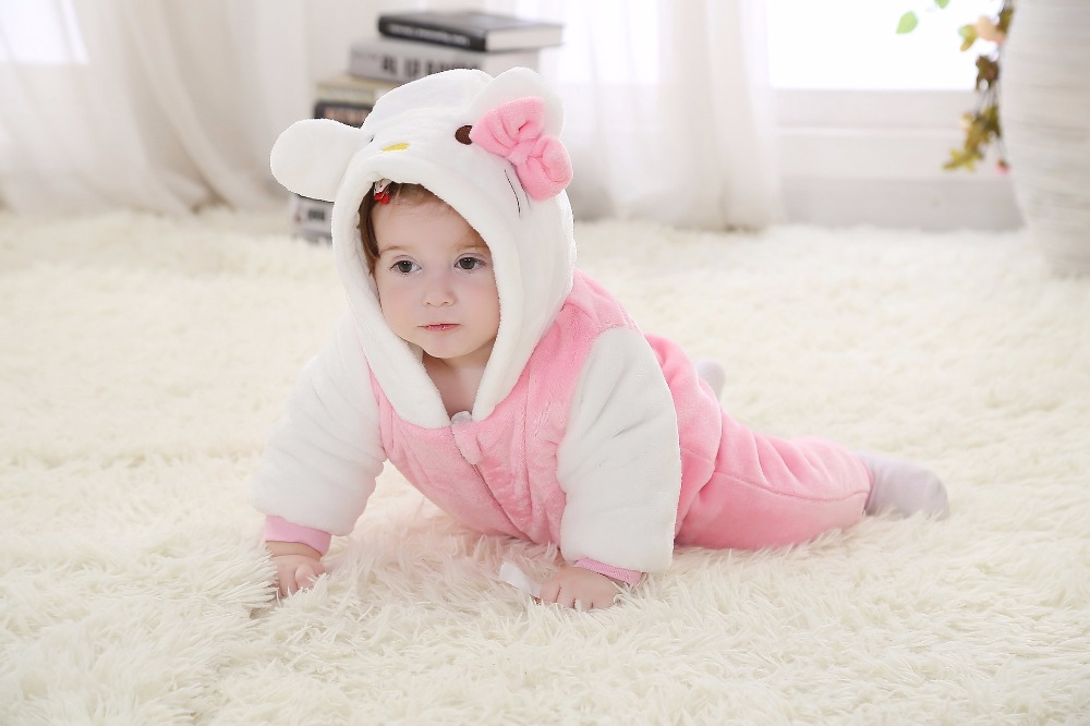 Infant Animal Clothing Autumn Fashion Outfits Clothes Flannel Halloween Kitty Baby Girl Costume for 0-24 Months Toddler Romper