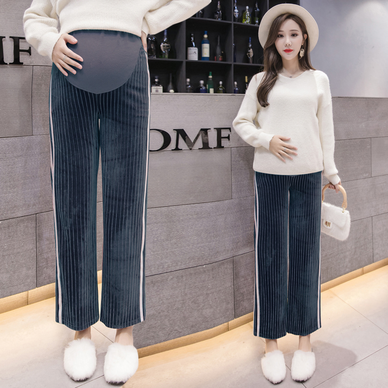 Winter Pregnancy Sports Pants Warm Plus Velvet Clothing Casual Maternity Clothes For Pregnant Women Fashion Maternity Trousers plus size 3xl warm thick pregnancy denim pants winter fleece maternity jeans for pregnant women plus velvet maternity clothing