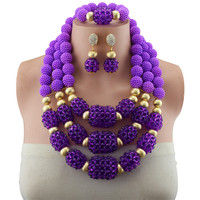 Fashion Jewelry Sets African Nigeria Beads Dubai Purple Copper Beads Women Wedding Bridal Turkish Choker Costume Jewelry Set