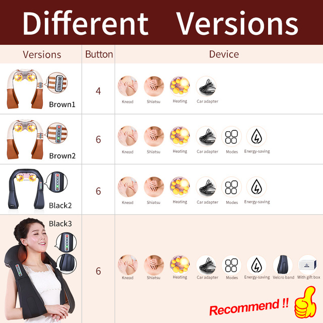 JinKaiRui 16 Massage Heads Heating Neck Shoulder Kneading Massager Cervical Therapy Health Care Back Waist Pain ReliefRelaxation 5