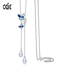 CDE Sweater Necklace Embellished with crystals from Swarovski Butterfly Pendant Necklace Chain Blue Mom Jewelry Mothers Day Gift(China)