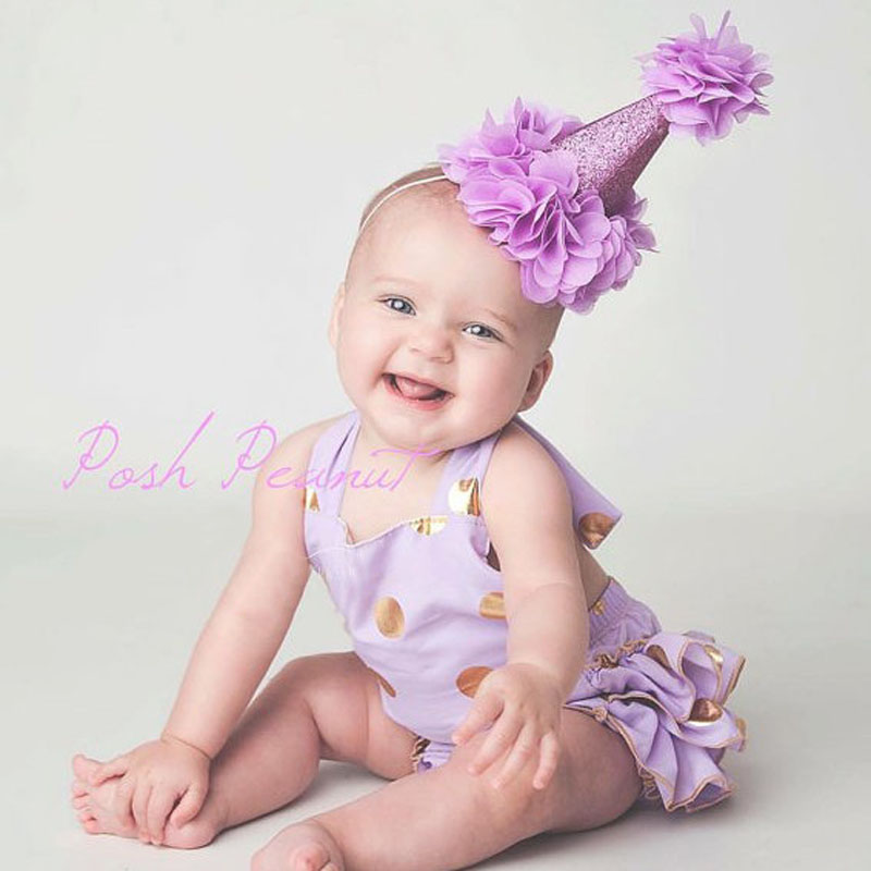 Cute Baby boys girls First 1st One Year Old Birthday Party Hat princess prince Hair Accessory Headband baby shower decoration