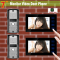 New 2 Camera 2 Monitor 7 inch Touch screen color video door phone intercom system video doorbell intercom doorphone