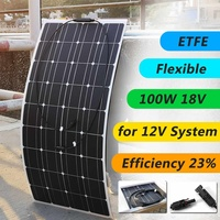 18V 100W Semi Flexible Solar Panel Solar Charger For 12V Car Battery ETFE Monocrystalline Cells For Hause,boat,roof