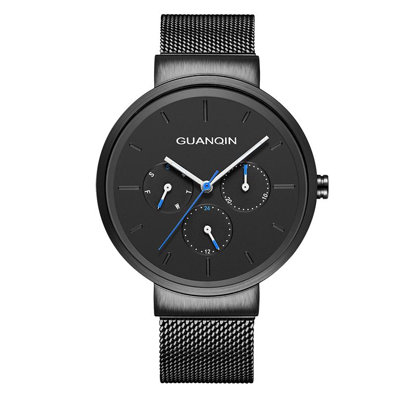 GUANQIN GS19103 montres hommes de luxe marque Relogio Masculino montres hommes décontracté maille bracelet en acier inoxydable 2018 montre à Quartz