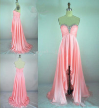 New Sexy Hot Coral Sweetheart Chiffon High Low Crystal Prom Gown Formal Dresses Dress Free shipping