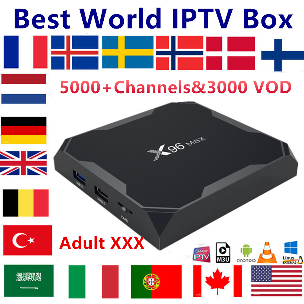 French IPTV X96 MAX Android 8.1 TV Box 1 Year IPTV Subscription Sweden Italy Dutch Europe Spain USA M3U Adult Xxx Smart Tv Box