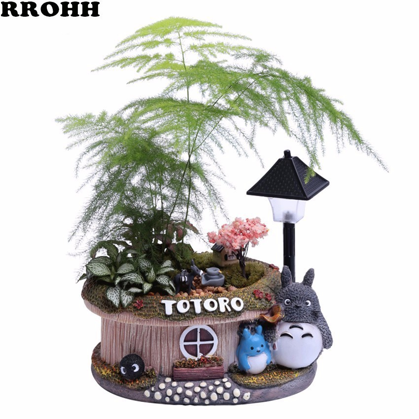 1pcs Fortune tree flower pot With Light Small Bonsai Bamboo Plant Indoor Purification Air Plant Micro Landscape Desktop Ornament-in Flower Pots & Planters from Home & Garden