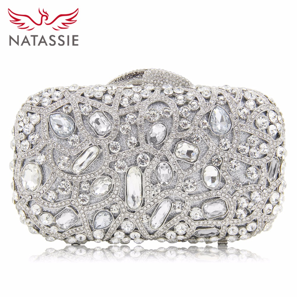 NATASSIE Gold Evening Bags Luxury Crystal Clutch Diamond Wedding Bag With Chain Women Party Purse Handbags Hollow Out Clutches natassie women clutch bags full crystal evening bag blue party purse ladies wedding handbag with long chain