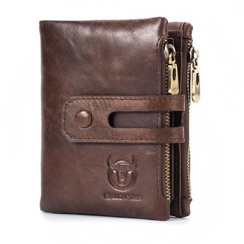 Bullcaptain RFID Antimagnetic Vintage Genuine Leather 14 Card Slots Coin Bag Wallet Men Purse High Quality Male Card ID Holder wallet