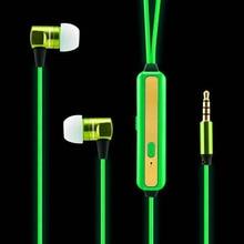2017 New EL Led Luminous earphone Headset Led Glow Earphones el Headphones MIC 3.5mm USB Rechargable For Iphone Android