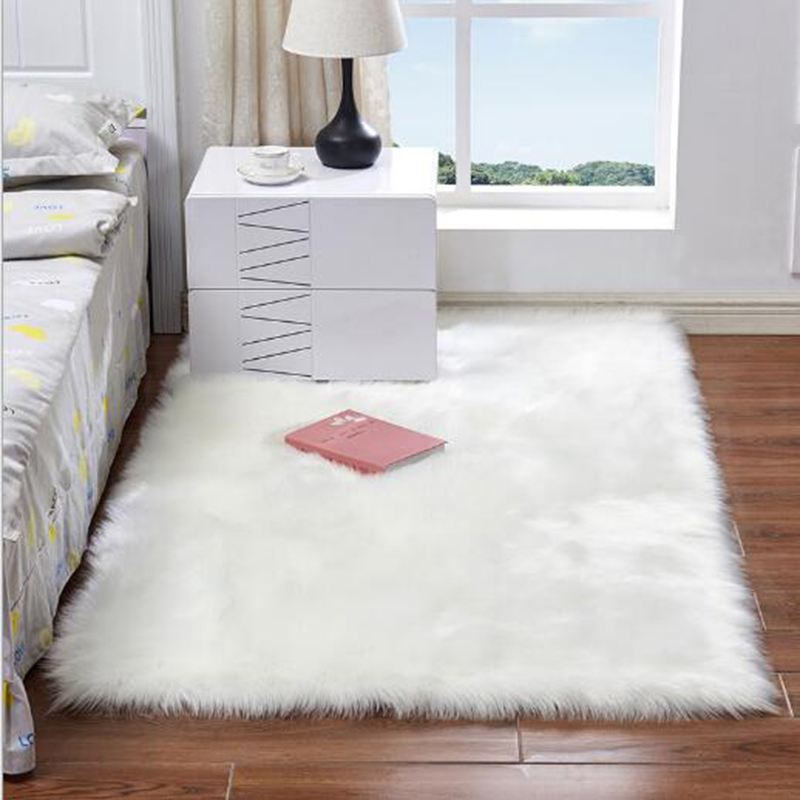 Faux Fur Sheepskin Shag Fluffy Rectangle Rug Mat Soft Cozy Warm Fluffy Shaggy Solid Carpet For Wedding/Bedroom/Girl's Room White