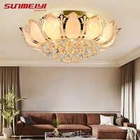 Flor de lótus moderna luz teto com abajur vidro ouro lâmpada do teto para sala estar quarto lamparas techo abajur